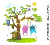 tree friends animals birds... | Shutterstock .eps vector #563354908