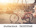 vintage retro bicycle on the... | Shutterstock . vector #563355568
