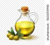 olive oil in a glass bottle... | Shutterstock .eps vector #563355940