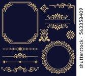 vintage vector set. floral... | Shutterstock .eps vector #563358409