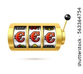 euro jackpot on slot machine.... | Shutterstock .eps vector #563364754