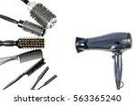 tools hairdresser top view on... | Shutterstock . vector #563365240