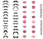 set of mustache and women's lips | Shutterstock .eps vector #563368714
