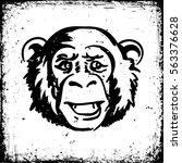 a grunge monkey's head ink... | Shutterstock .eps vector #563376628