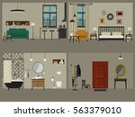 set of apartment interiors with ... | Shutterstock .eps vector #563379010