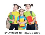 three cute little girls | Shutterstock . vector #563381098
