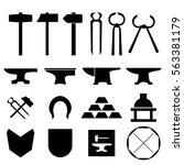 blacksmith metalsmith tools... | Shutterstock .eps vector #563381179