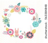 cute floral background. frame... | Shutterstock .eps vector #563384848