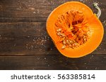 Cut Half Of Orange Pumpkin On...