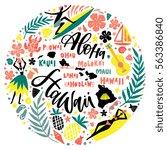 hawaii islands map and tourist...   Shutterstock .eps vector #563386840