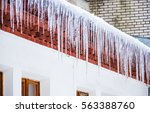 Ice Icicles Hanging From The...