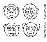 a set of sketches monkey in... | Shutterstock .eps vector #563389288