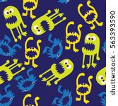 seamless pattern on a blue...   Shutterstock .eps vector #563393590