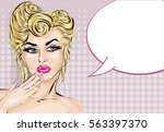 pin up style surprised woman... | Shutterstock .eps vector #563397370