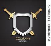 3d crossed gold swords with... | Shutterstock .eps vector #563408140