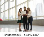 group of asian businesswomen... | Shutterstock . vector #563421364