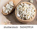 boiled job's tears in wood bowl | Shutterstock . vector #563429914