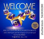 vector golden and violet logo... | Shutterstock .eps vector #563433280