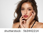 beautiful woman skin tanned red ... | Shutterstock . vector #563442214
