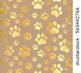 paw print seamless. traces of... | Shutterstock .eps vector #563442766