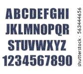 textured vintage font. denim...   Shutterstock .eps vector #563444656