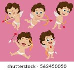 set of difference pose cute... | Shutterstock .eps vector #563450050