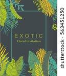 exotic leaves design. vector... | Shutterstock .eps vector #563451250