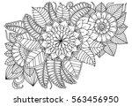 doodle floral drawing. art... | Shutterstock .eps vector #563456950