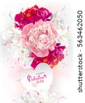luxurious pink  red and white... | Shutterstock .eps vector #563462050