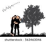 vector silhouette of family on... | Shutterstock .eps vector #563463046