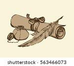 engraving paperback still life... | Shutterstock .eps vector #563466073
