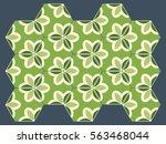 ornate hexagon tiles in green... | Shutterstock .eps vector #563468044
