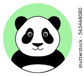cute panda in the green circle... | Shutterstock .eps vector #563468080