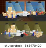 professional workers in the... | Shutterstock . vector #563470420