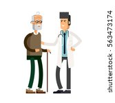 young male doctor helping a... | Shutterstock .eps vector #563473174
