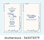 wedding invitation  thank you... | Shutterstock .eps vector #563473579