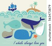 Vector Illustration Of Whales...