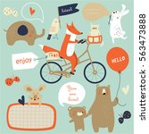 vector illustration of cute... | Shutterstock .eps vector #563473888
