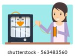young girl printing a prototype ... | Shutterstock .eps vector #563483560