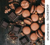 sweet chocolate macaron french | Shutterstock . vector #563485939