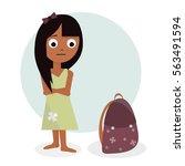 schoolgirl illustration.... | Shutterstock .eps vector #563491594