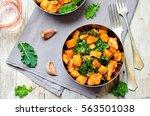 kale sweet potato chicken stew... | Shutterstock . vector #563501038