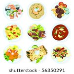 set of food on a plate d | Shutterstock .eps vector #56350291