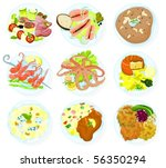 set of food on a plate e | Shutterstock .eps vector #56350294