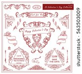 vintage valentines set of... | Shutterstock .eps vector #563503009