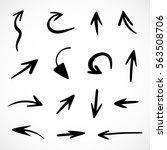 hand drawn arrows  vector set | Shutterstock .eps vector #563508706
