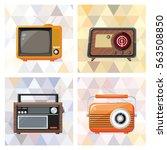 vintage appliances set on... | Shutterstock .eps vector #563508850