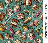 cartoon hand drawn ice cream... | Shutterstock .eps vector #563511190