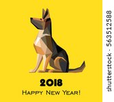 Stock vector  happy new year greeting card celebration yellow background with dog german shepherd and place 563512588