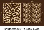 laser cutting set. woodcut... | Shutterstock .eps vector #563521636